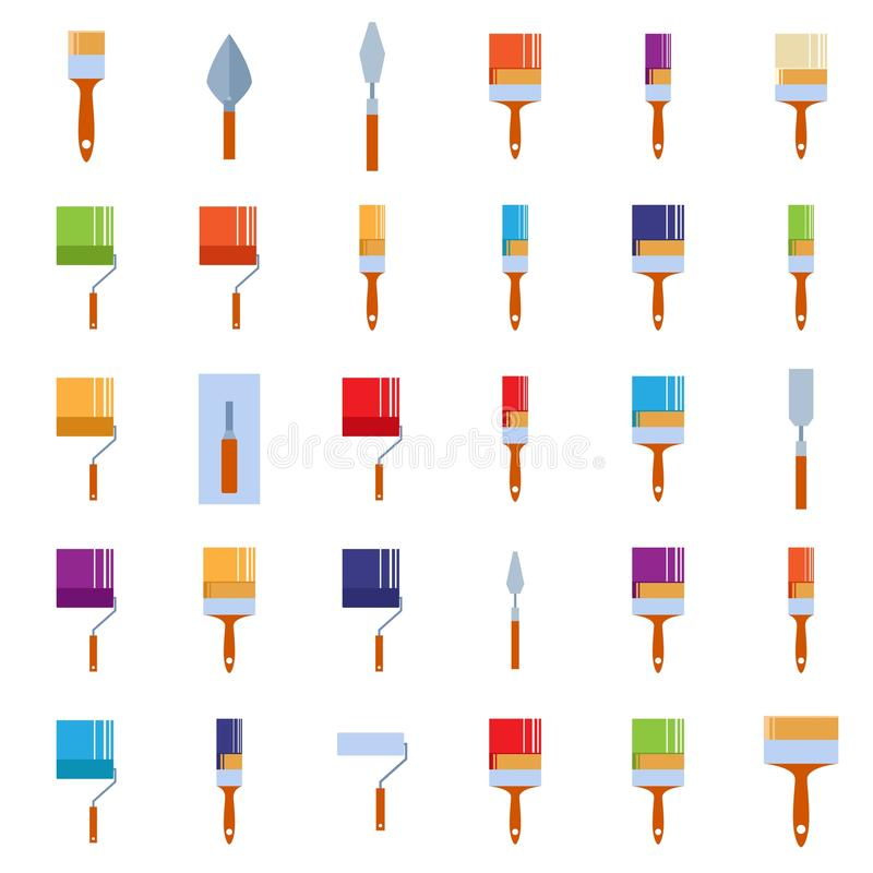 Burnishing tools. Vector mage of a set of icons of burnishing tools royalty free illustration