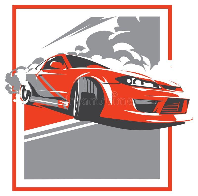 Burnout Car Japanese Drift Sport Jdm Stock Vector