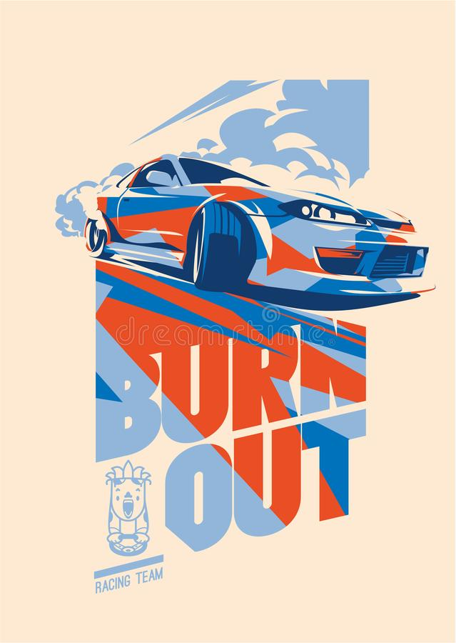 Burnout car, Japanese drift sport, Street racing royalty free illustration