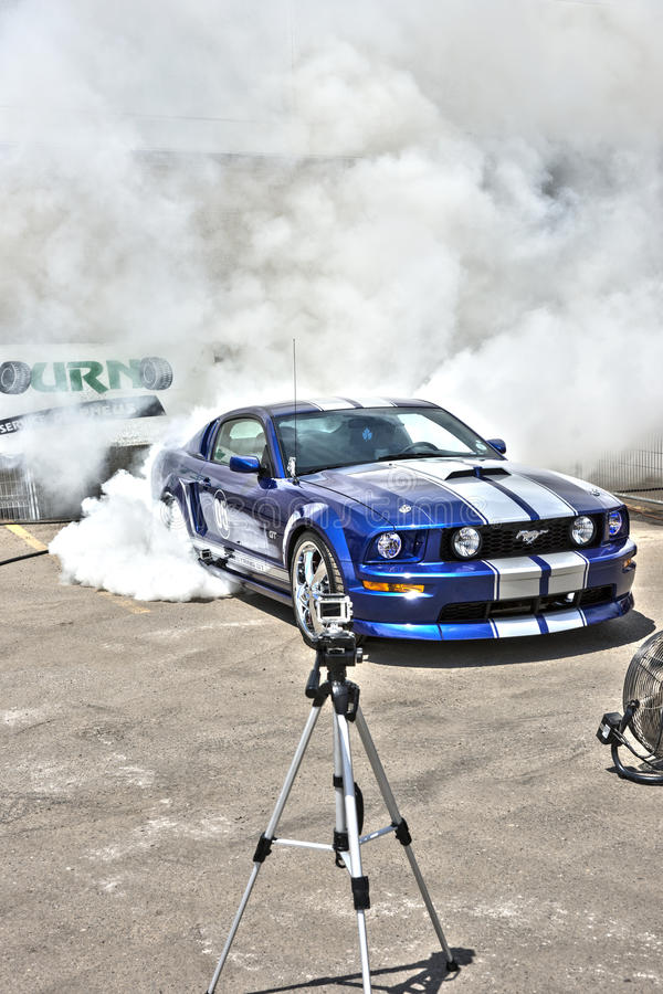Burnout del mustang immagine stock