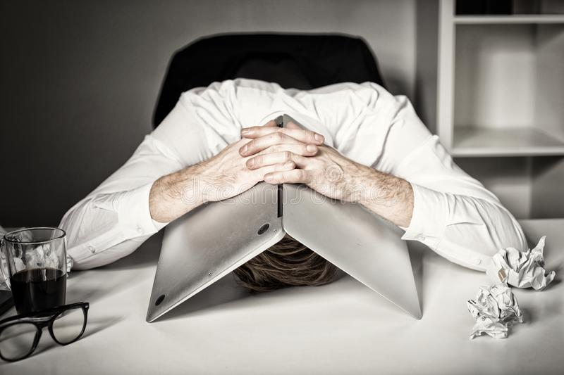 Burnout and failure at work stock photo