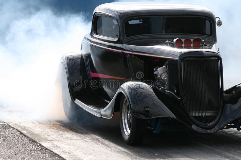 burnout hotrod obraz stock