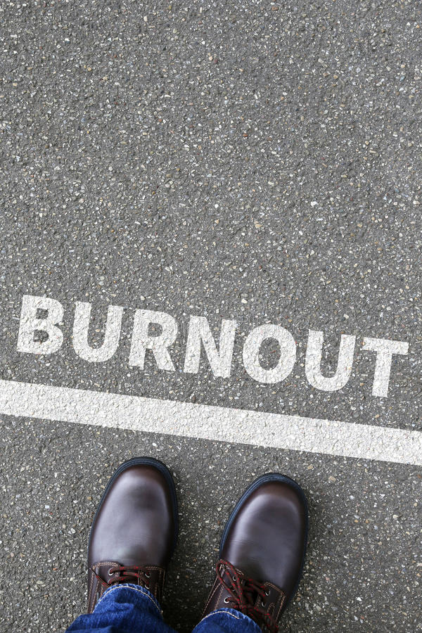 Burnout ill illness stress stressed at work business concept. Overworked royalty free stock photo