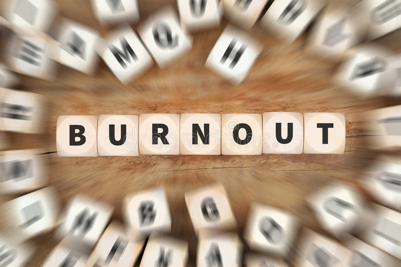 Burnout ill illness stress stressed at work overworked dice business concept. Idea stock image