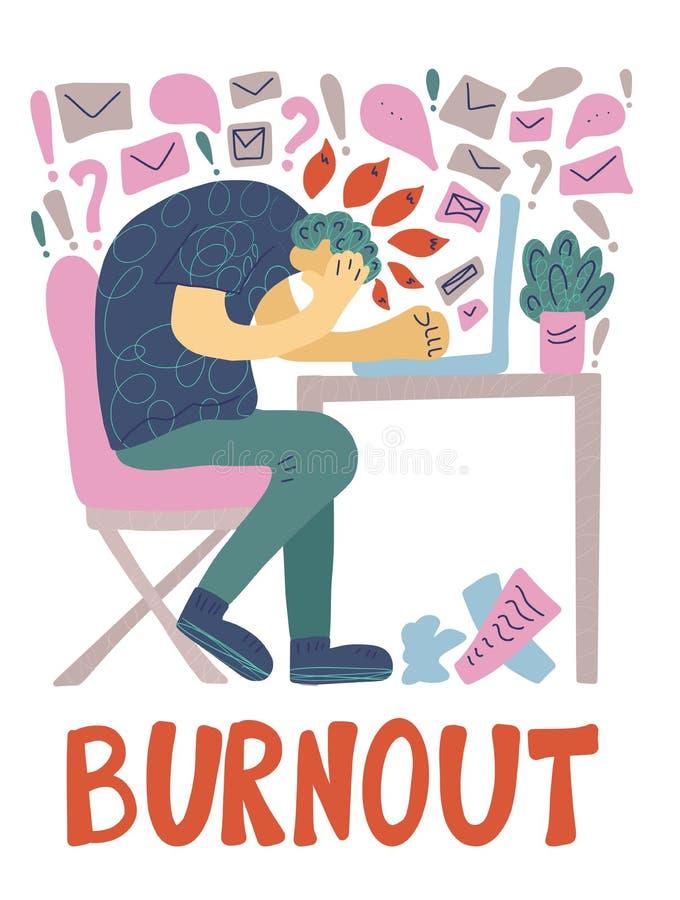 Burnout poj?cie Wektorowa osoba przy stołem ilustracja wektor