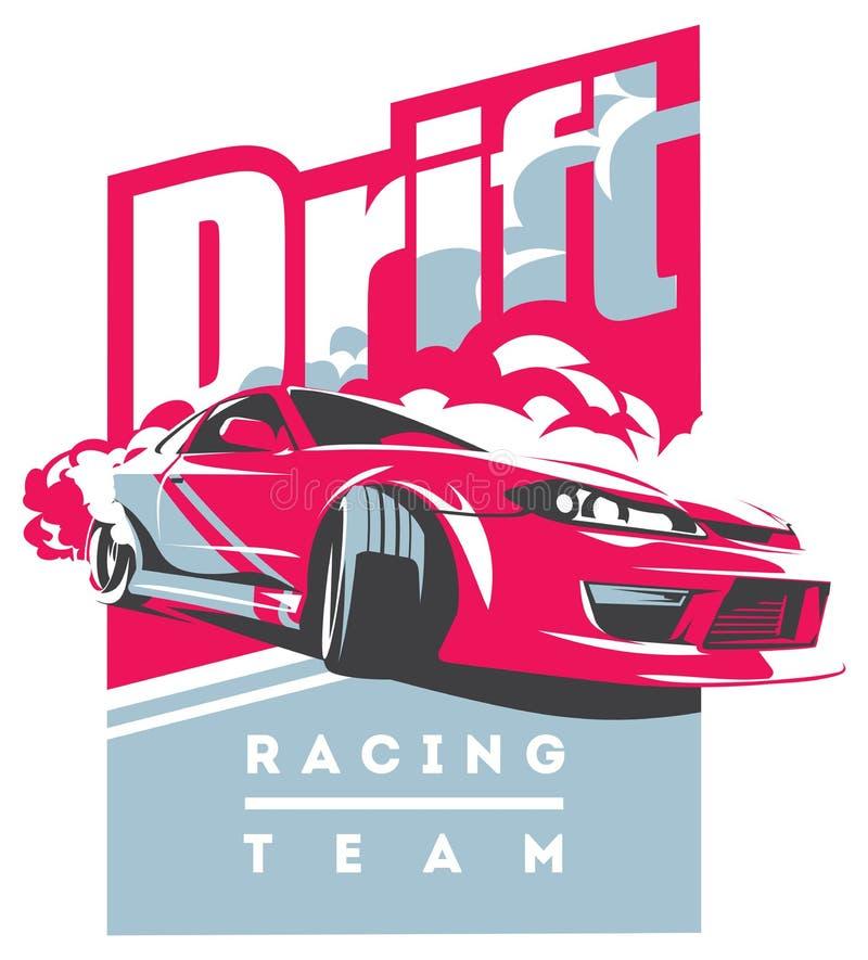 Burnout samochód, japończyka dryfu sport, JDM, ilustracja wektor