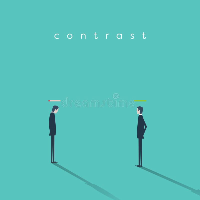Burnout syndrom vs wysoka energia biznesmena wektorowy biznesowy pojęcie ilustracji