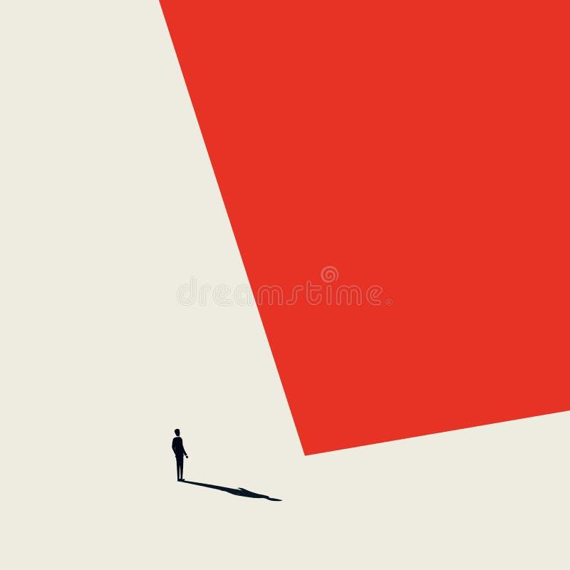Burnout syndromu biznesowy wektorowy abstrakcjonistyczny pojęcie Osamotniony i przygnębiony biznesmen w minimalistycznym artystyc royalty ilustracja