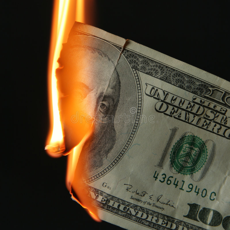 burns dolarów zdjęcie stock