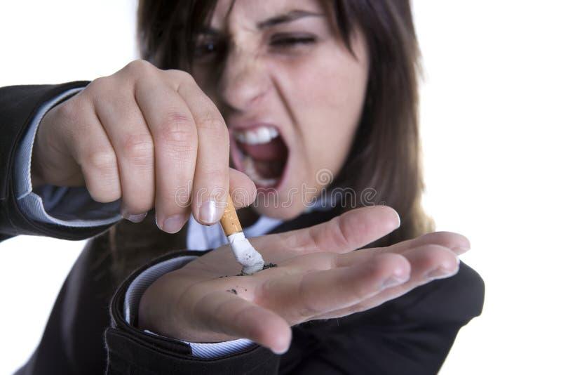burns wydadzą jej krzyk kobiety young zdjęcie stock