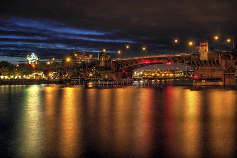 Burnside Bridge across Willamette River Portland. Burnside Bridge across Willamette River to Downtown Portland Oregon Night royalty free stock image