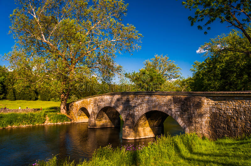 Burnside Bridge, on a beautiful spring day at Antietam National Battlefield. Maryland royalty free stock images