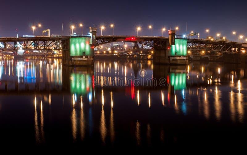 Burnside bridge at night. In Portland royalty free stock image