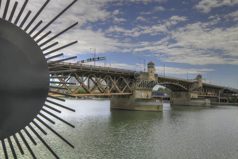 Burnside Bridge over Willamette River. Portland Oregon royalty free stock images