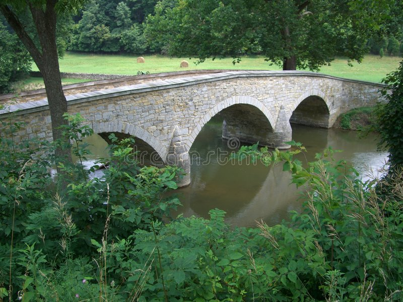 Burnside Bridge Overlook. Photo of Burnside Bridge on Antietam Creek in Maryland. This marked the end of one of the bloodiest battles of the Civil War with the royalty free stock photo