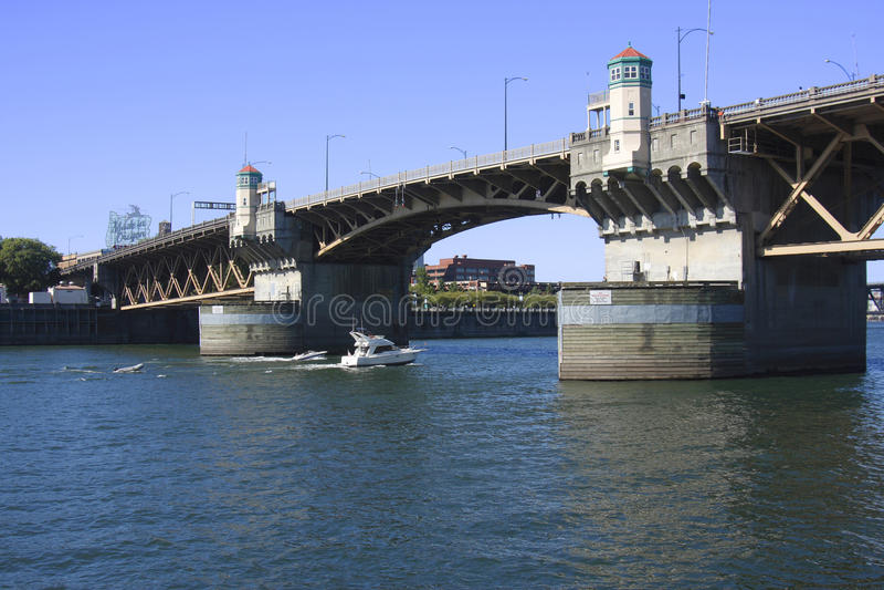 The Burnside Bridge Portland OR. The Burnside bridge and made in Oregon landmark stock image