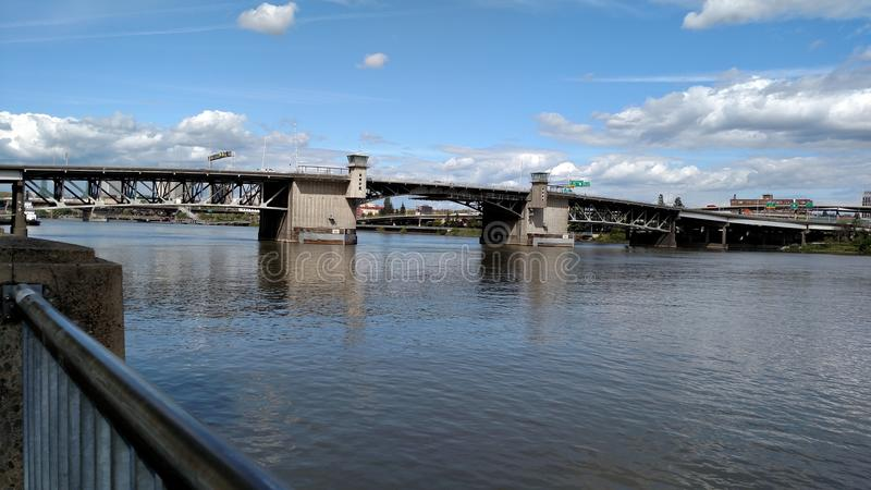 Burnside Bridge. Portland Oregon River royalty free stock image