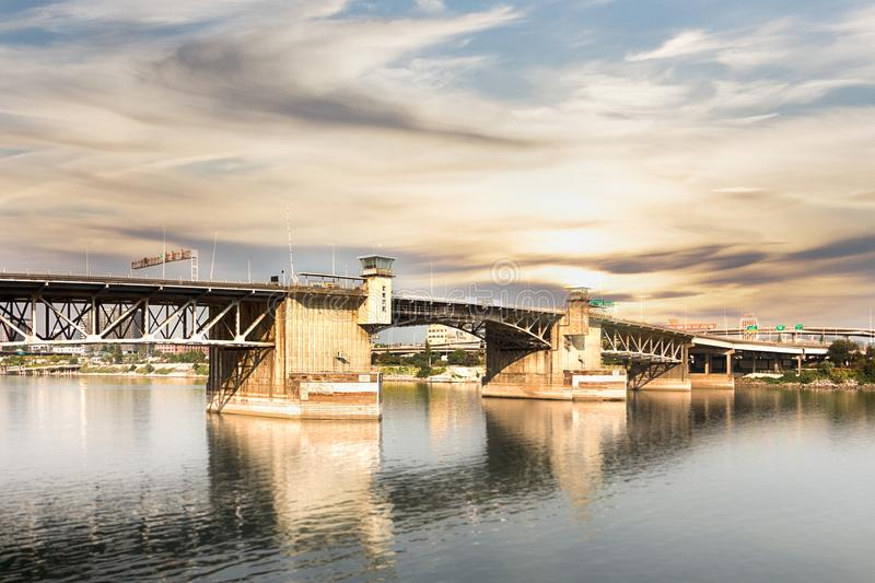 The Burnside Bridge in Portland. View of the Burnside Bridge at the WIllamette River, Portland stock image