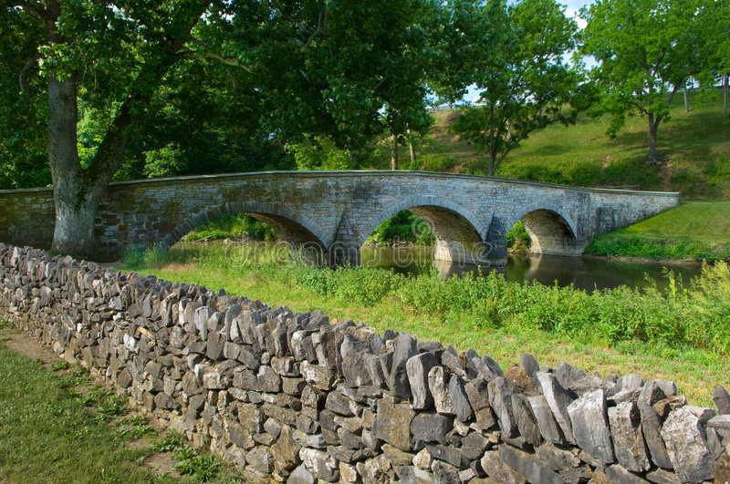 Burnside Bridge and Stone Wall. Burnside Bridge and nearby stone wall at Antietam Battlefield at Sharpsburg, Maryland, USA royalty free stock photos