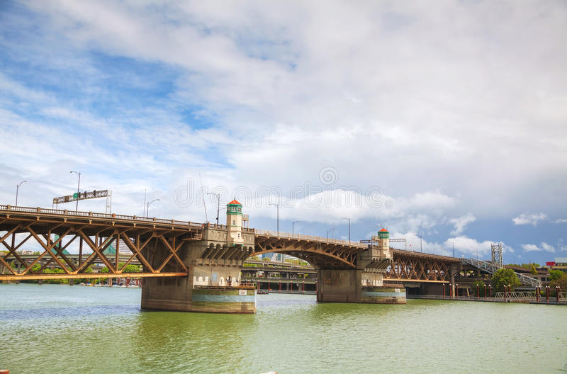 Burnside drawbridge in Portland, Oregon. On a cloudy day stock image