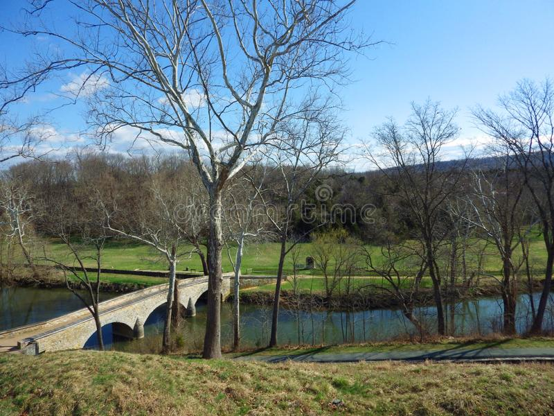 Burnside most, Antietam Krajowy pole bitwy, Maryland obrazy stock