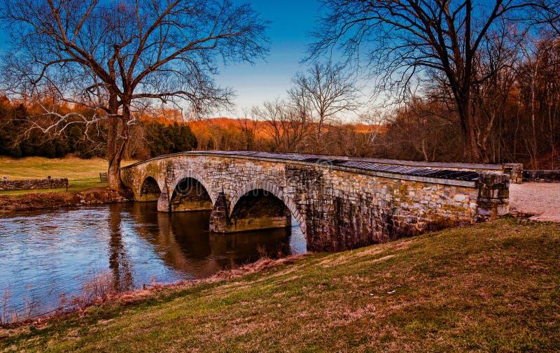 Burnside most przy Antietam Krajowym polem bitwy, Maryland obraz stock