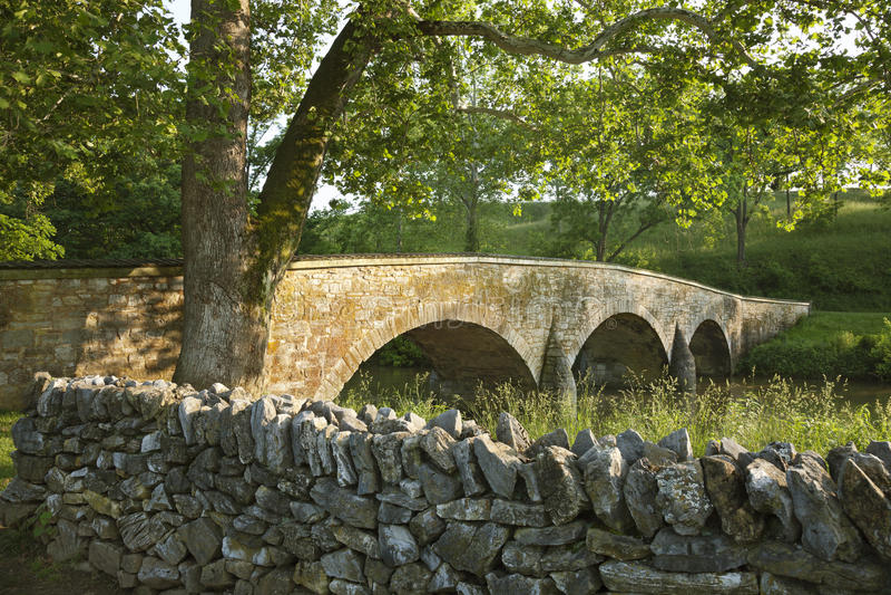 Burnside's Bridge at Antietam (Sharpsburg) Battlefield in Maryla. Burnside's Bridge at the Antietam (Sharpsburg) Battlefield in Maryland. Viewed from the Union stock photography