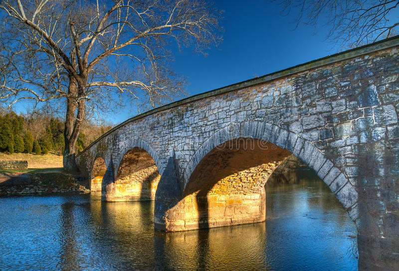Burnside's Bridge, Sharpsburg Maryland. In late afternoon light - this bridge played a key role in the Battle of Antietam during the American Civil War royalty free stock photography