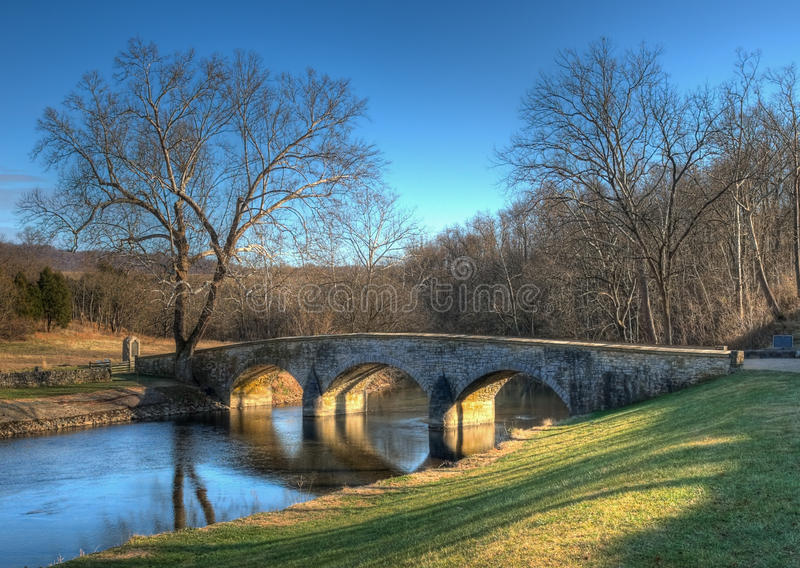 Burnside's Bridge in Sharpsburg, Maryland. In late afternoon light - this bridge played a key role in the Battle of Antietam Creek during the American Civil War royalty free stock photos