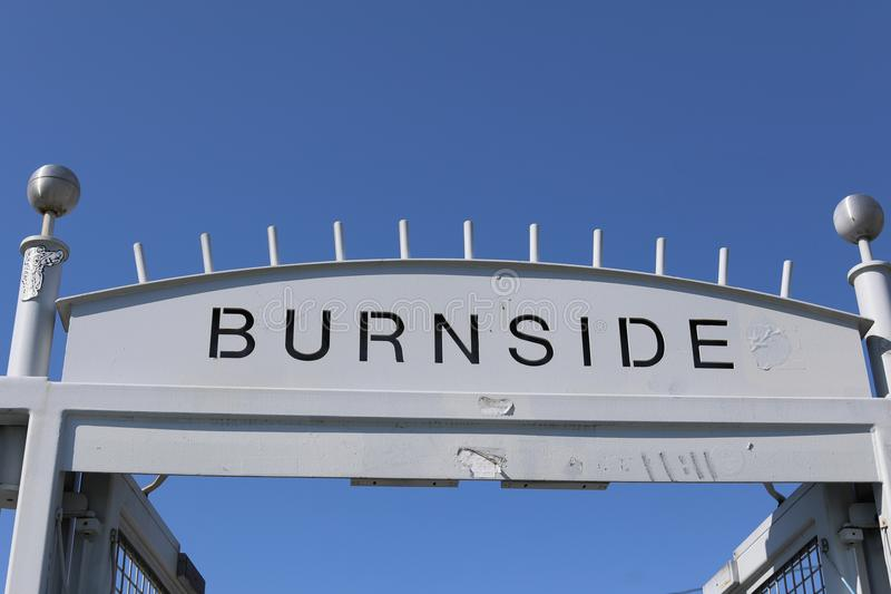 The Burnside sign in Portland old town. Portland, Oregon, USA - April 27, 2018 : The Burnside sign in Portland old town stock photo