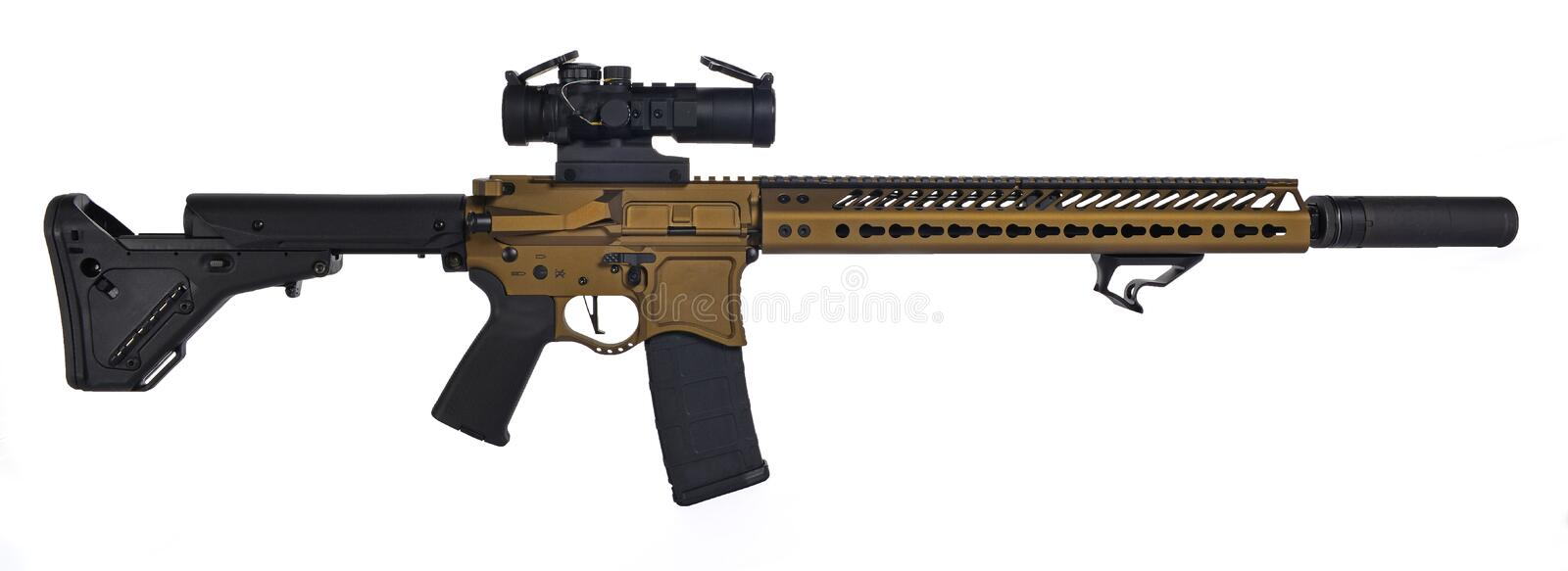 Burnt Bronze AR15 with suppresor and 30rd mag royalty free stock photography