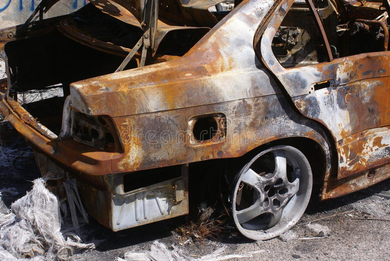 Burnt car royalty free stock images