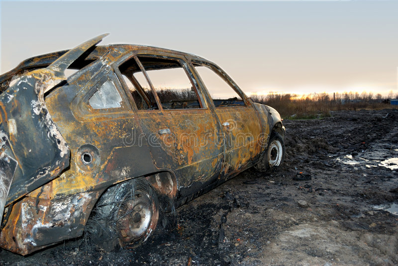 Burnt car royalty free stock photo