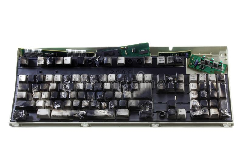 Burnt Computer Keyboard stock images