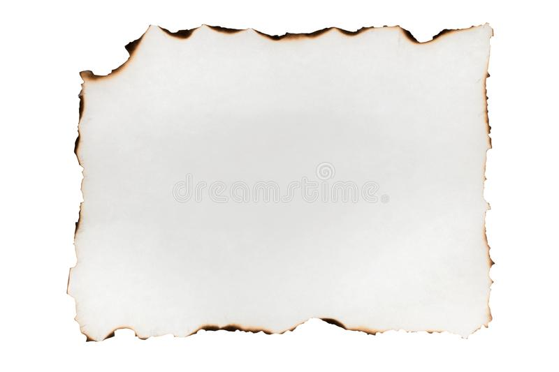 Burnt edges paper isolated on white background. royalty free stock photography