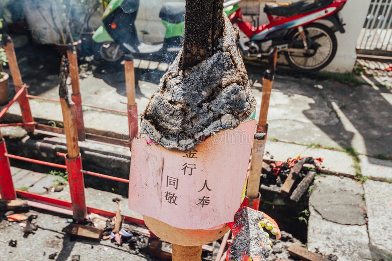 Burnt enormous chinese incense on the street in George Town. Penang, Malaysia stock photos