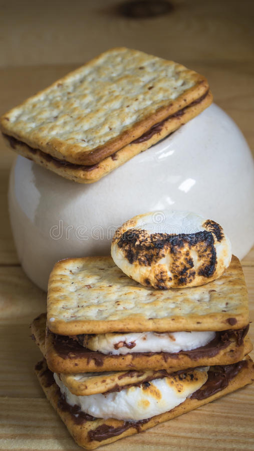 Burnt marshmallow and smores pile royalty free stock photos