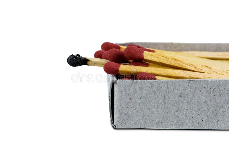 Burnt match on open box matches isolated on white background royalty free stock photo
