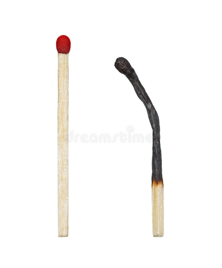 Download Burnt Match And A Whole Red Match Stock Image - Image: 29886285