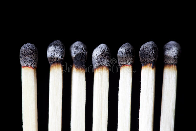 Burnt Matches, concept photography stock image