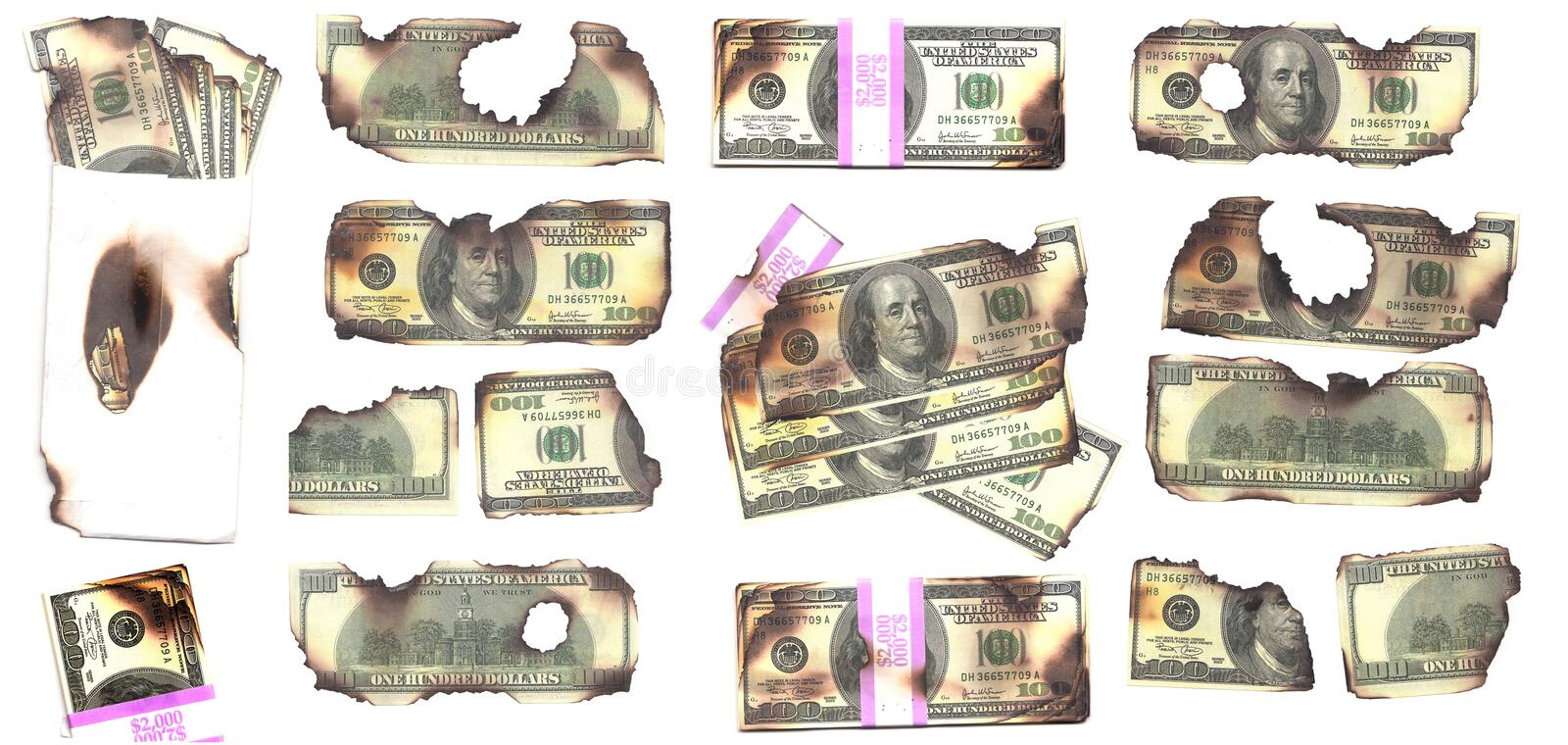 Burnt Money. $100 dollars bills burnt. USD benjamin franklins royalty free stock photography