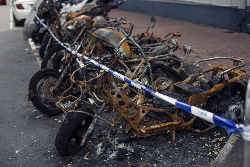 Burnt motorbike. Insurance matters royalty free stock photos