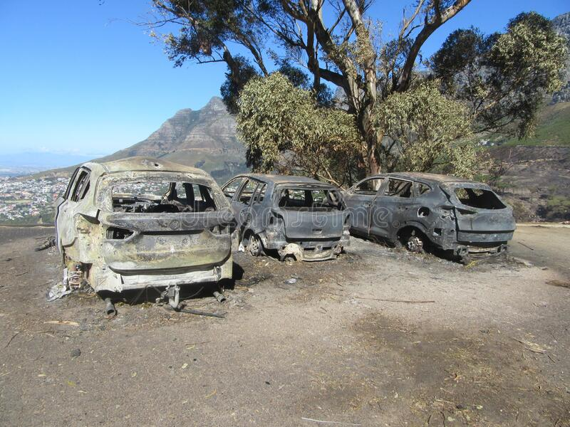 Burnt Out Cars after Fire on Table Mountain Reserve stock image