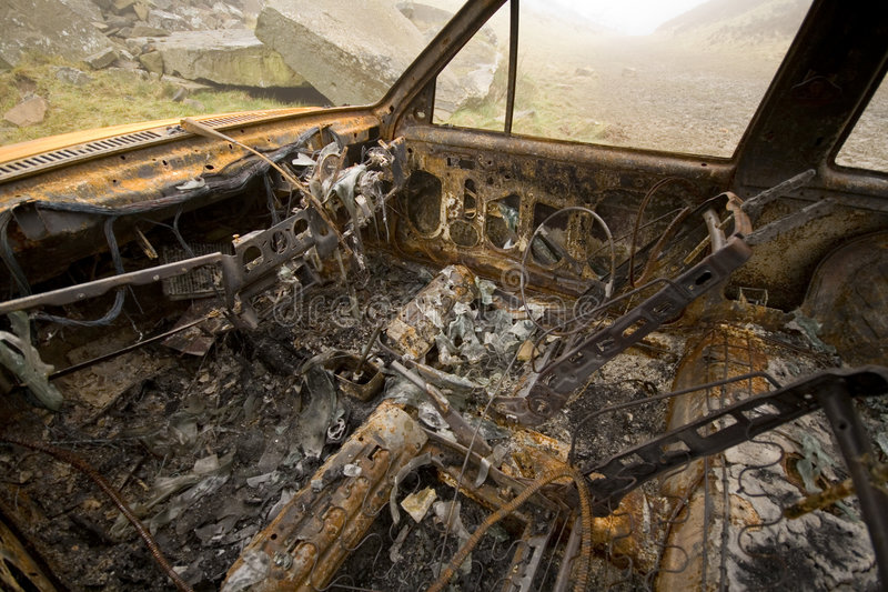 Download Burnt out and rusted car stock image. Image of mist, rusted - 4324841