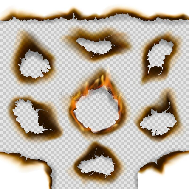 Holes of burnt paper with fire flames, ash, cracks. Burnt paper holes and scorched page edges 3d vector design with realistic fire flames on transparent vector illustration