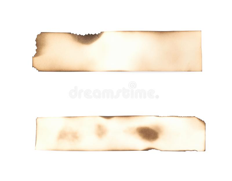 Burnt paper sheet isolated stock photo
