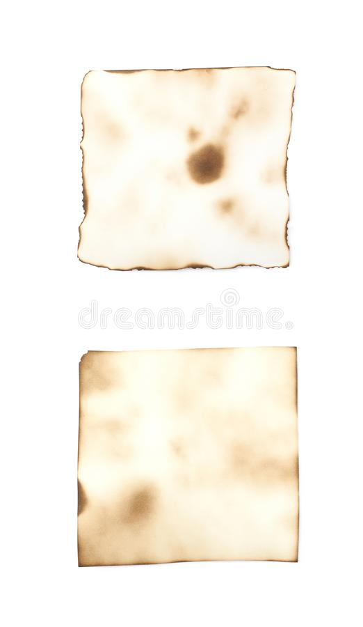 Burnt paper sheet isolated royalty free stock photos