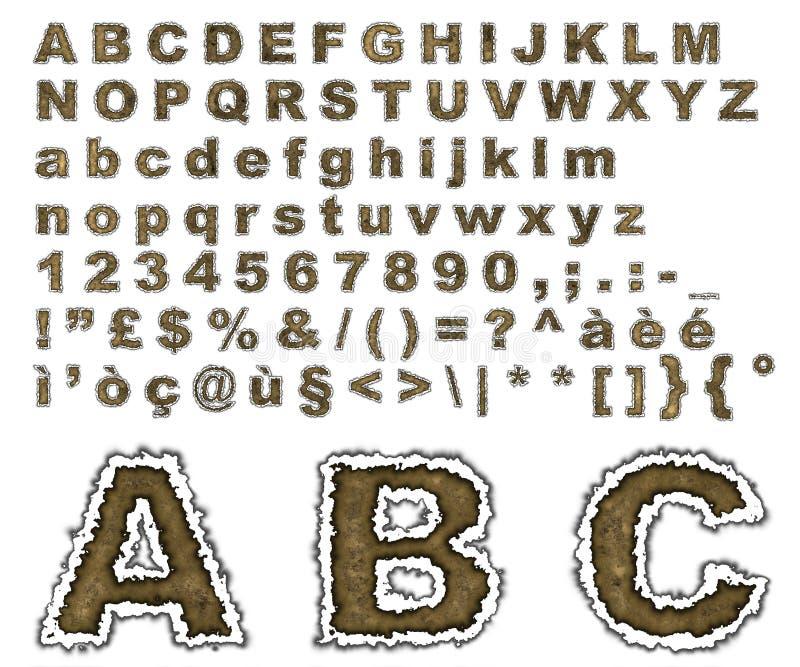 Burnt parchment alphabet vector illustration