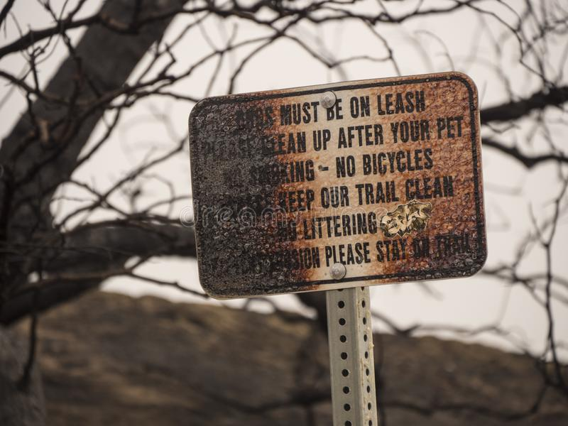 Burnt Park Sign From Wildfire royalty free stock images