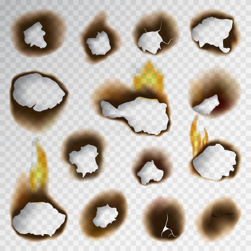 Burnt piece burned faded paper hole realistic fire flame page sheet torn ash vector illustration stock illustration